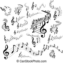 Musical staves on white - Wavy music staves. Vector set on...