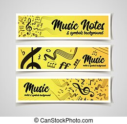 Musical staves vector illustration with music notes and ...
