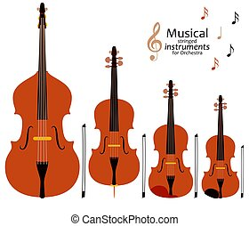 Musical stringed instruments for orchestra
