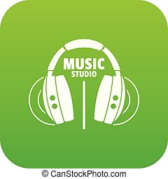 Musical studio icon green vector
