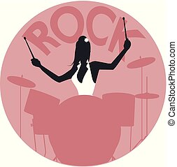 Musical style. Rock. Silhouette of girl playing the drums