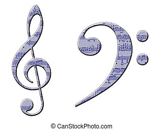 Musical Symbols - A treble and bass clef with manuscript...
