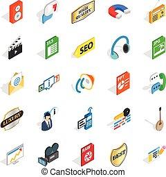 Musical taste icons set, isometric style