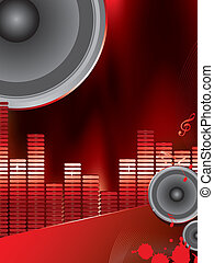 musical theme with loudspeakers