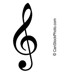 Musical trebel clef - Musical clef symbol in black, isolated...