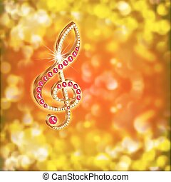 musical treble clef with precious stones on a bright background