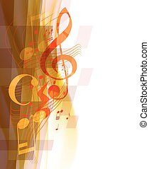 Musical treble key and musical notes and signs on wavy...