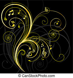 Floral ornament with musical note, vector illustration layered.
