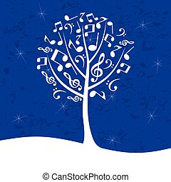 Musical tree on a dark blue background. A vector illustration