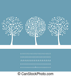 Musical tree2 - Three musical trees on a blue background. A...