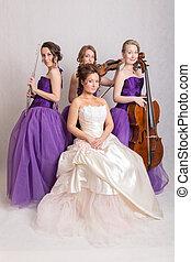 musical trio and a bride