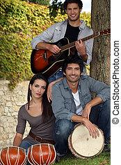 musical trio in nature
