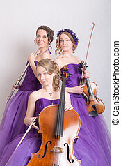 musical trio with instruments