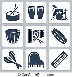 musical, vecteur, istruments:, tambours, claviers