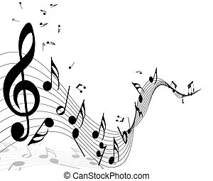 musical - Musical notes staff background with lines. Vector...