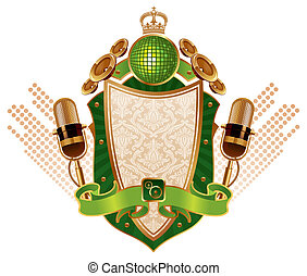Musical vector heraldic shield with microphones