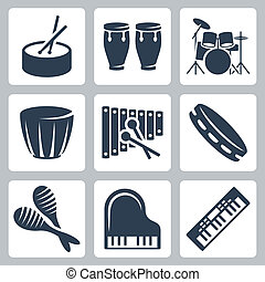 musical, vetorial, istruments:, tambores, teclados