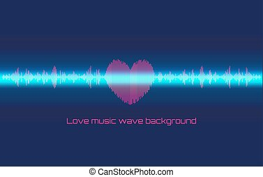 Musical wave in the form of heart and neon line