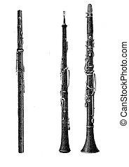 Musical wind instruments, oboe, vintage engraving