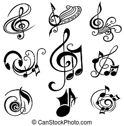 musicale, disegni elementi, set