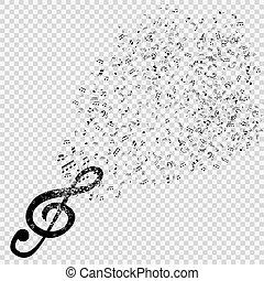 musicale, illustration., fondo., vettore, chiave, triplo, set, trasparente, note
