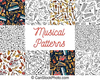 musicale, modello, sfondi, strumenti, note