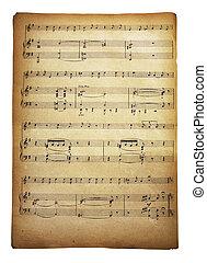 musicale, pagina, con, note
