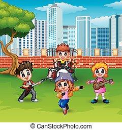 musicale, parco, bambini giocando