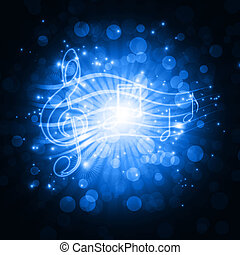 musicale, simboli, con, stelle