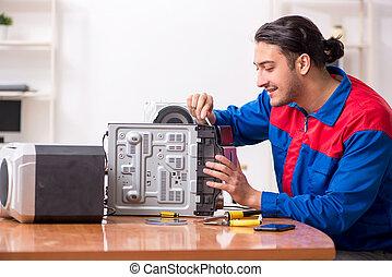 musicale, sistema, giovane, hi-fi, ingegnere, riparare
