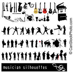 musican, silhuetas