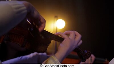 Musicant plays the violin