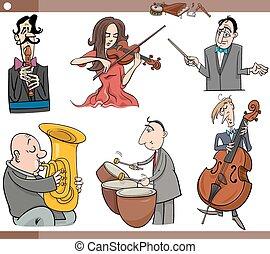 musici, set, spotprent, karakters