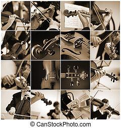 musici, toneelstuk, detail, viool, collage, klassiek concert
