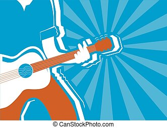 musician and guitar background.Vector