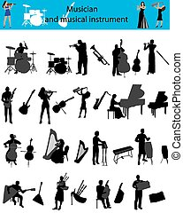 musician and musical instrument - Silhouettes of the...