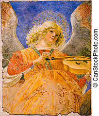 One of the most famous musician angels by Melozzo da Forli. Actually in Vatican Museums.