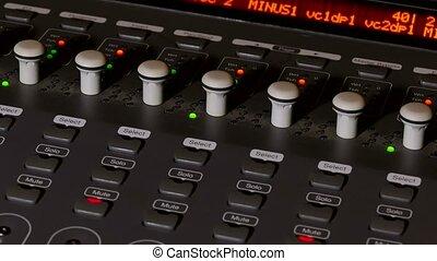musician brings man console mixer music remote studio -...