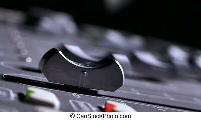 musician brings man console mixer music studio remote -...