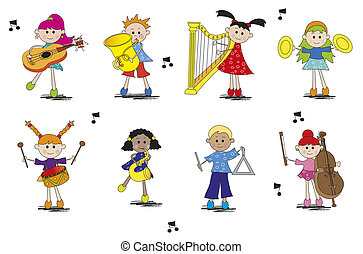 musician - illustration of children with different type of...