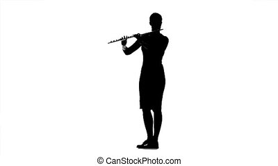 Musician girl playing on flute. Black silhouette on white...