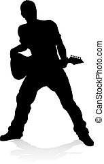 A guitarist musician in detailed silhouette playing his guitar musical instrument.