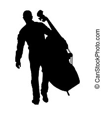 musician holding the big cello vector illustration
