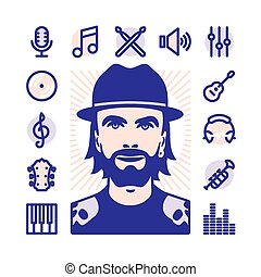 musician Icon set - Musician with Fat Line Icons for web and...