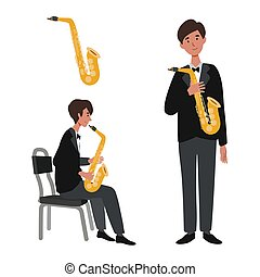 Musician illustration series. Entertainment, perform.