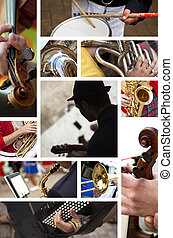 Musician images on a collage