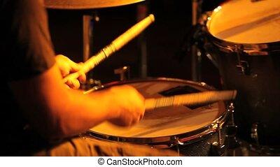 musician in concert, drum