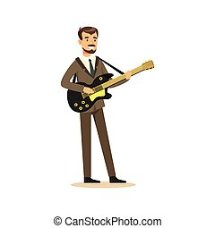 Musician man wearing a classic suit playing guitar vector Illustration