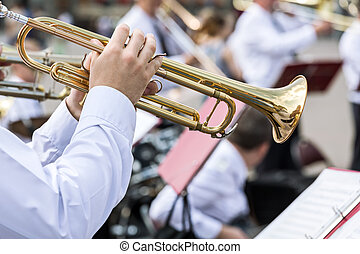 musician of military orchestra plays his gold trumpet