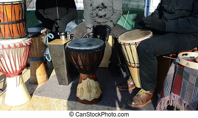 musician play drum music - Group of young musician people...